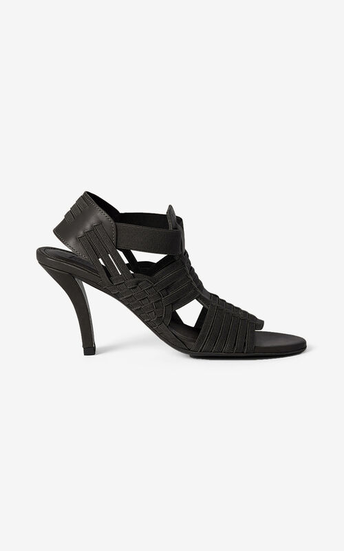 BLACK Greek heeled leather sandals for unisex KENZO