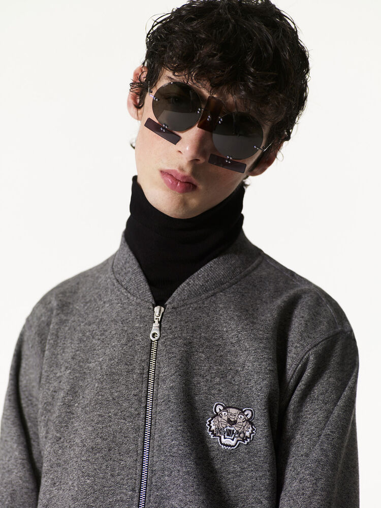 ANTHRACITE Zipped Sweatshirt with Tiger Crest for men KENZO