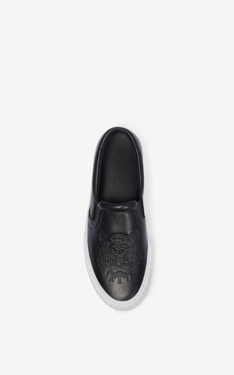 BLACK K-Skate leather sneakers without laces for unisex KENZO