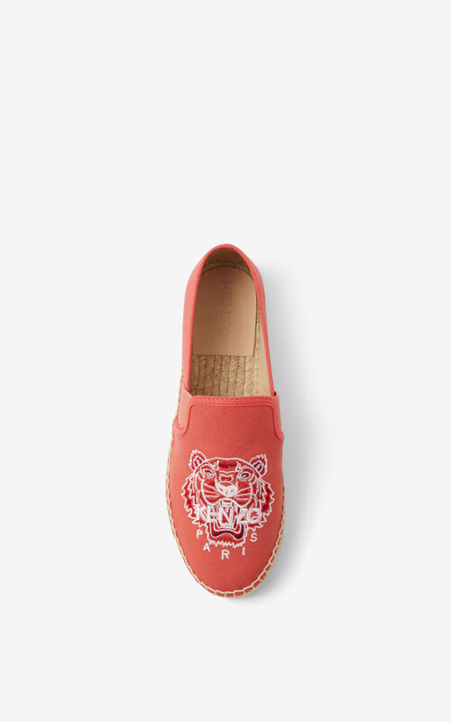 RED ORANGE Tiger elasticated canvas espadrilles for women KENZO