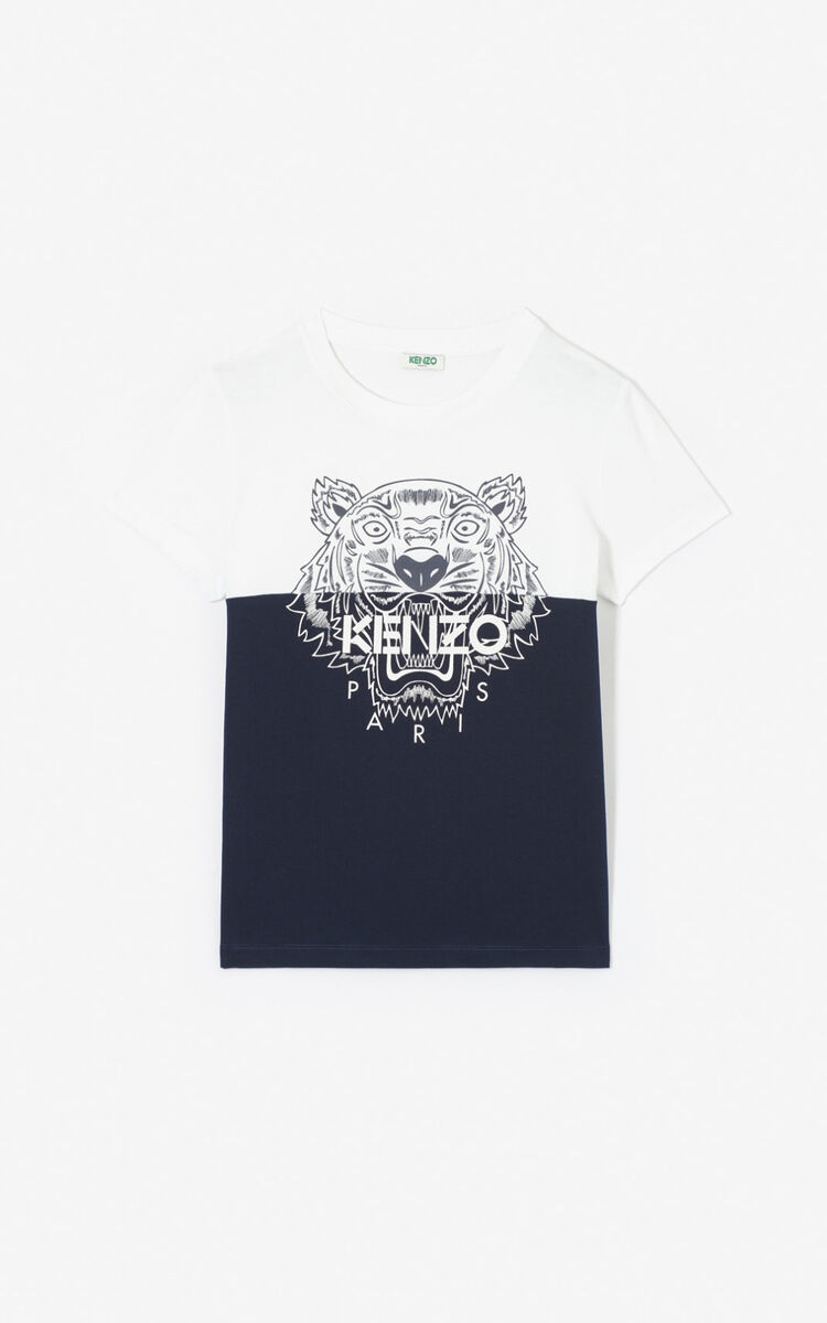 MIDNIGHT BLUE 'Colorblock Tiger' t-shirt for women KENZO