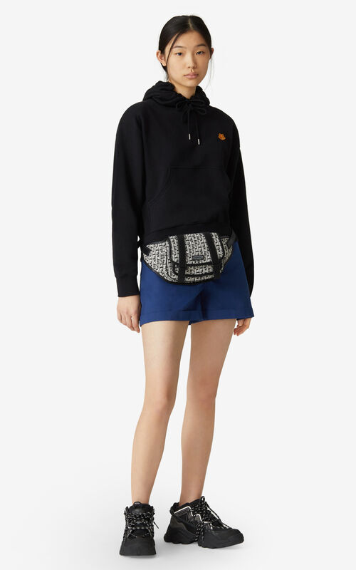 BLACK Tiger Crest boxy hooded sweatshirt for women KENZO