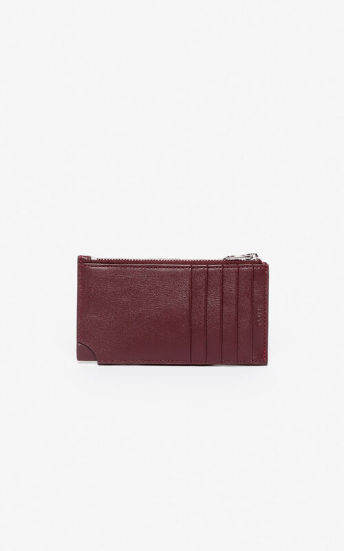 BORDEAUX 'Jumping Tiger' Zipped leather card holder for unisex KENZO