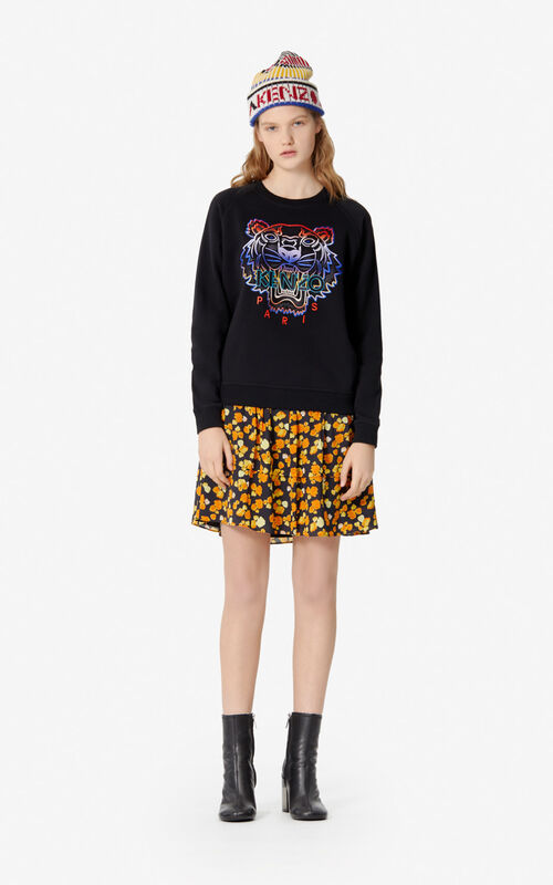 BLACK Tiger sweatshirt with fade for women KENZO