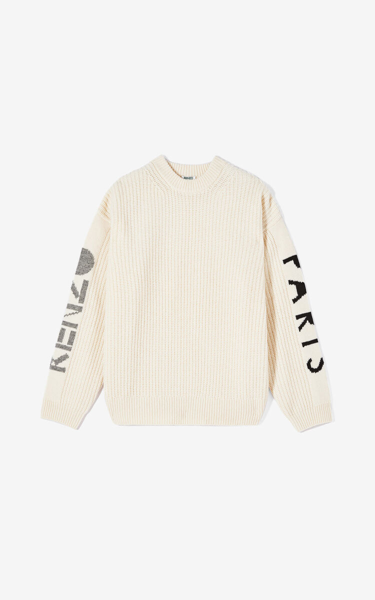 ECRU KENZO Paris thick knit jumper for men