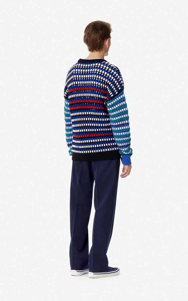 FRENCH BLUE Multi-coloured openwork jumper for men KENZO