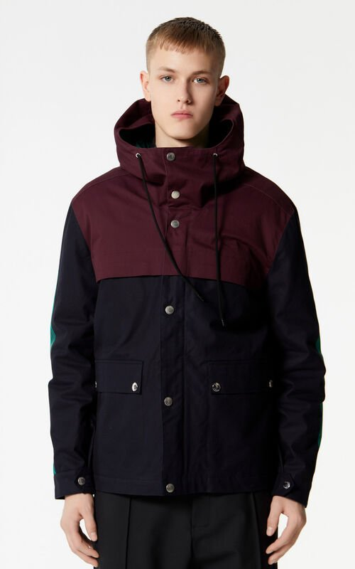 NAVY BLUE KENZO Logo colourblock parka for men
