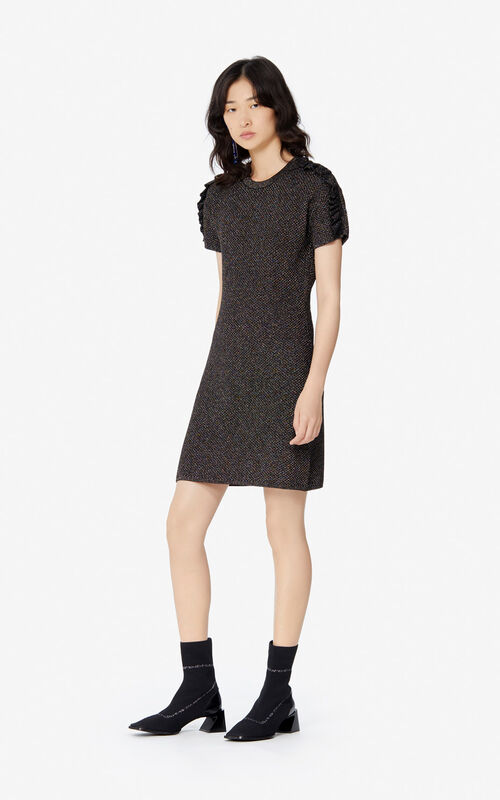 BLACK 'Holiday Capsule' frilled glitter dress for women KENZO