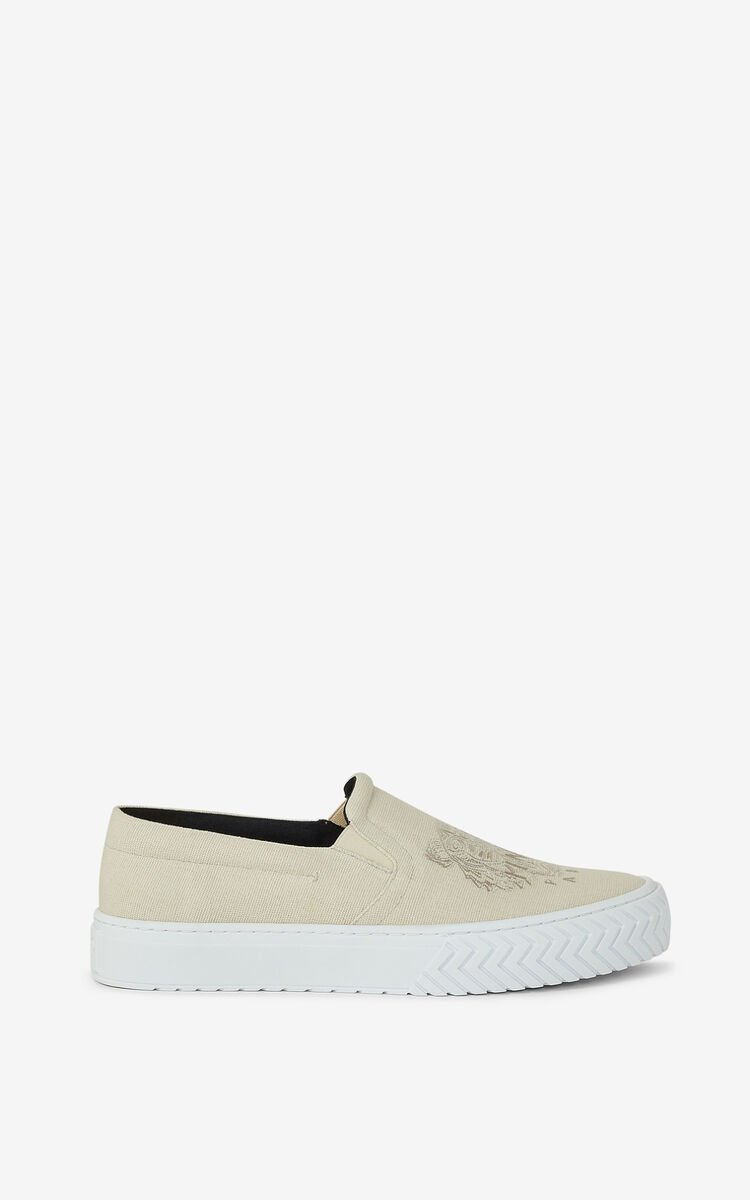 ECRU K-Skate Tiger laceless canvas sneakers for unisex KENZO