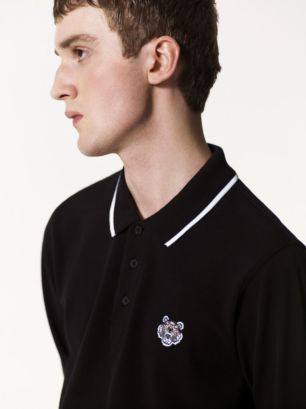 BLACK Long Sleeve Polo for men KENZO