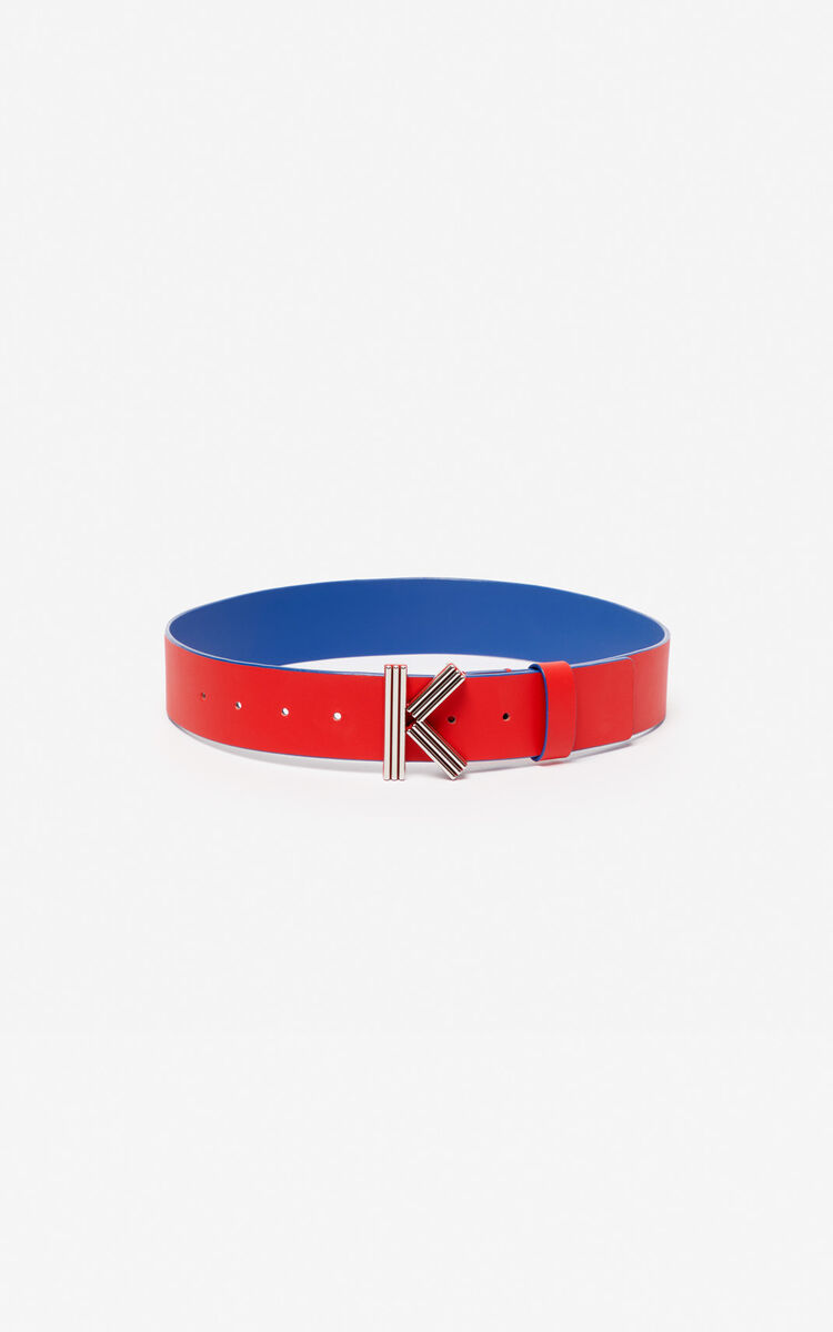 MEDIUM RED Wide two-tone K-Bag belt for women KENZO