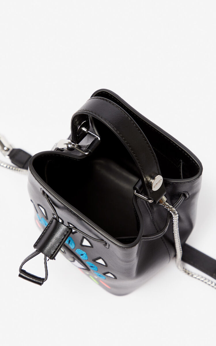 BLACK Eye leather bucket bag for unisex KENZO