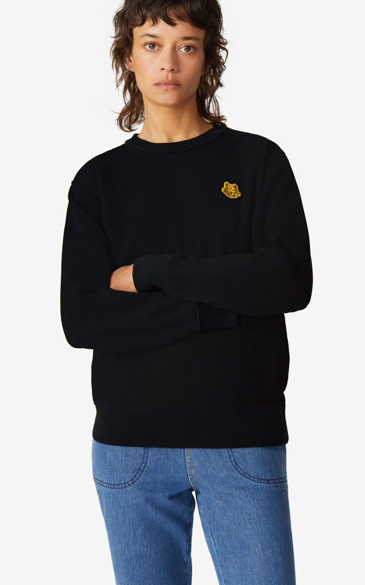 BLACK Tiger Crest sweatshirt for women KENZO