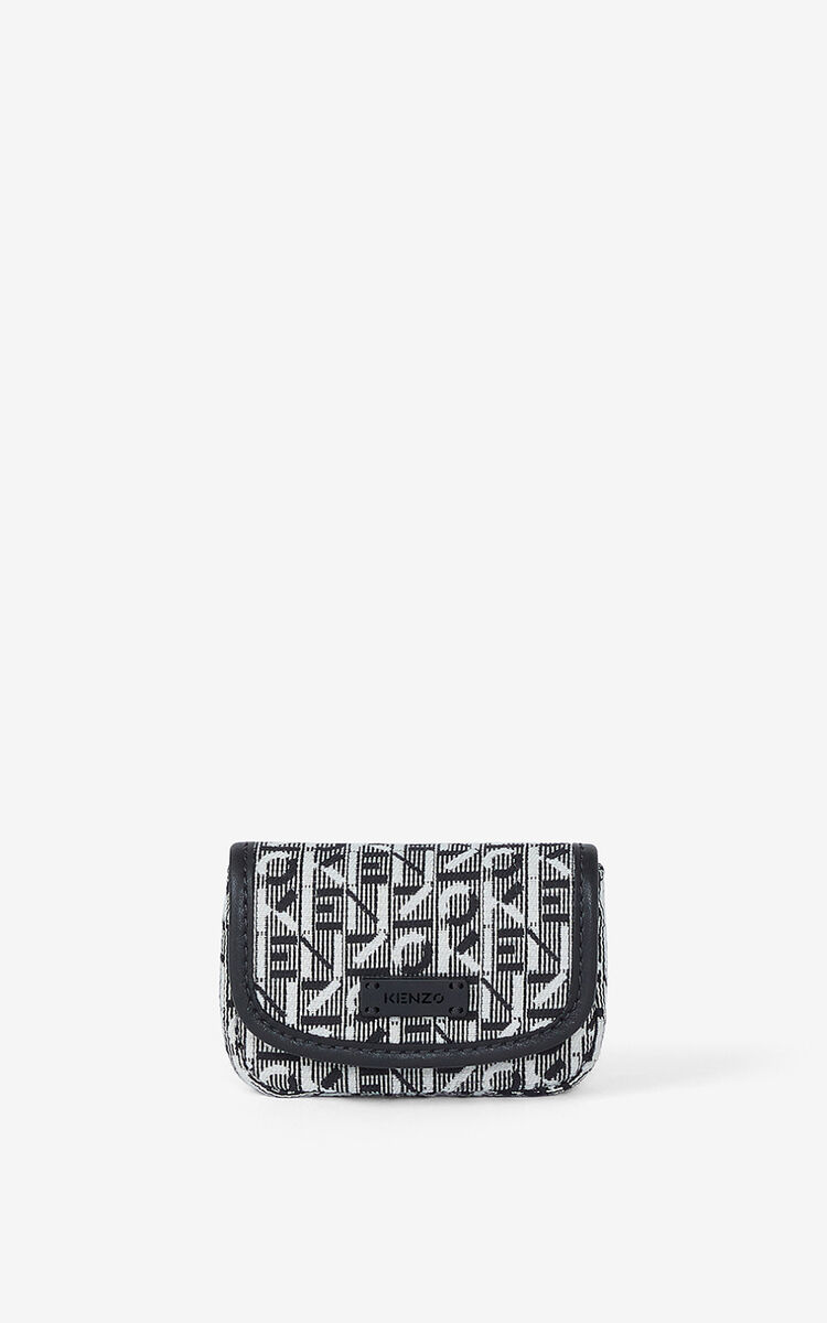 MISTY GREY Courier jacquard card holder with flap for unisex KENZO