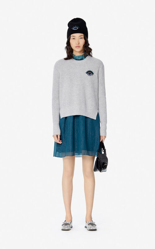 PALE GREY Cashmere Eye jumper for women KENZO