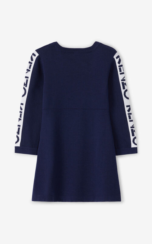 NAVY BLUE KENZO Sport wool dress for unisex