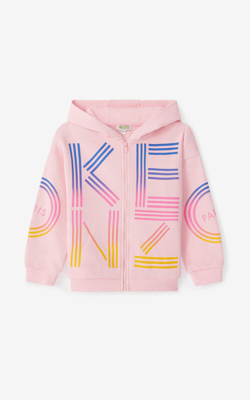 FLAMINGO PINK KENZO Sport hooded zip-up sweatshirt for women
