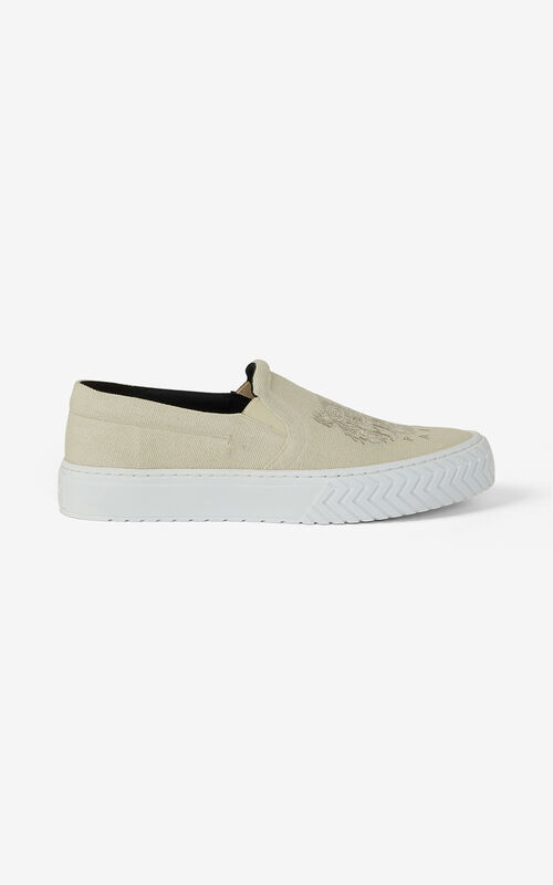 ECRU Canvas slip-on K-Skate Tiger trainers for women KENZO