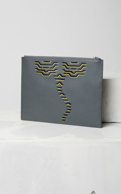 ANTHRACITE Geo Tiger' Clutch for unisex KENZO