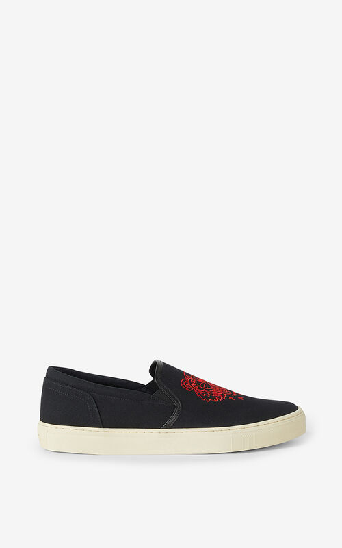 BLACK 'Chinese New Year Capsule' K-Skate Tiger laceless trainers for unisex KENZO