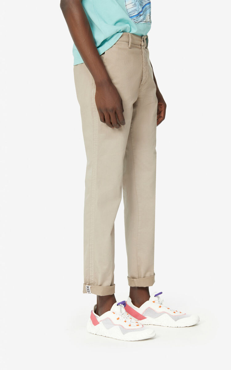TAUPE Slim-fit chino trousers for men KENZO