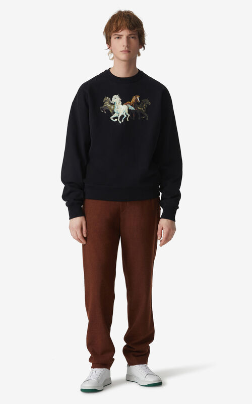 BLACK 'Chevaux KENZO' sweatshirt for men