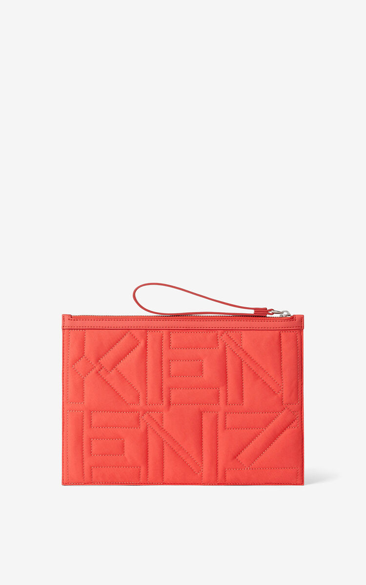 RED ORANGE Arctic nylon clutch for women KENZO