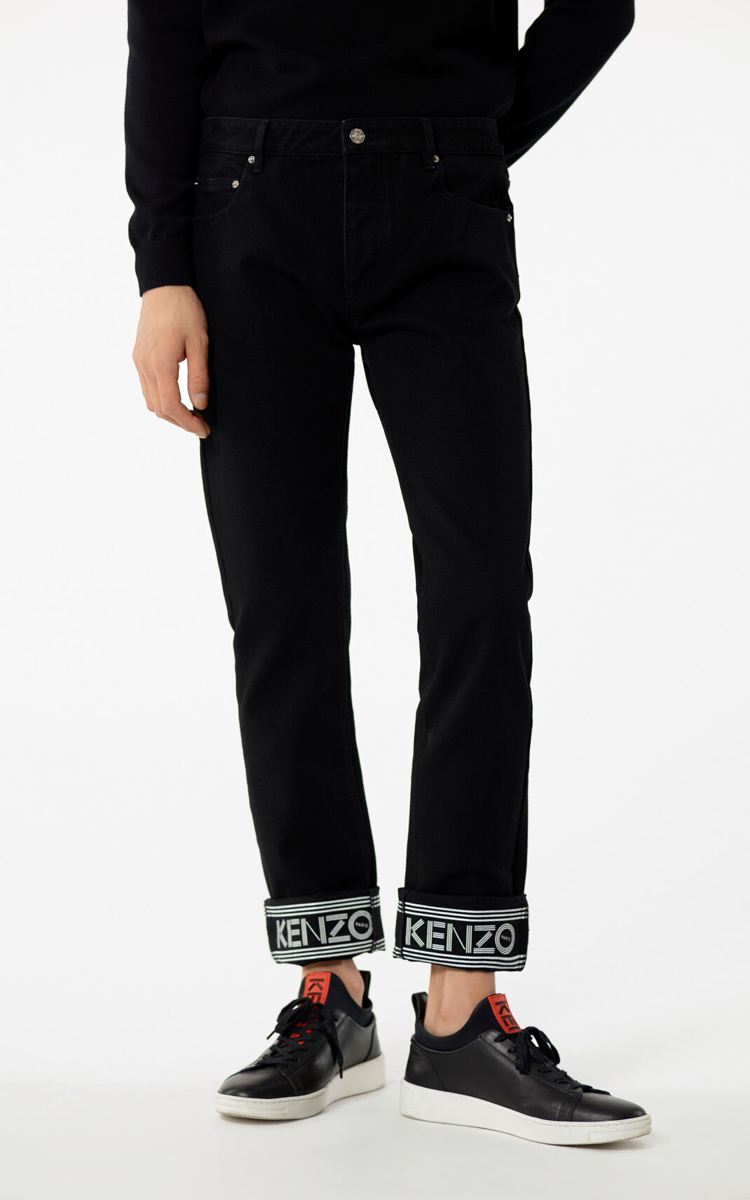 ... BLACK Slim-fit jeans with KENZO logo and turn ups for men