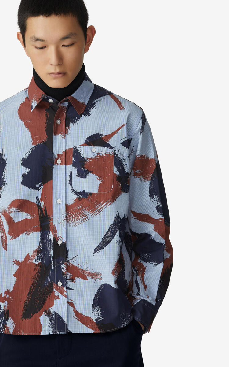 MOROCCAN BROWN 'Brushed Camo' casual shirt  for men KENZO