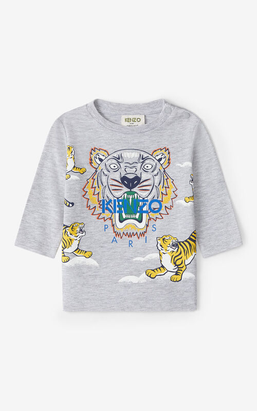 PEARL GREY Tiger long-sleeved T-shirt for unisex KENZO