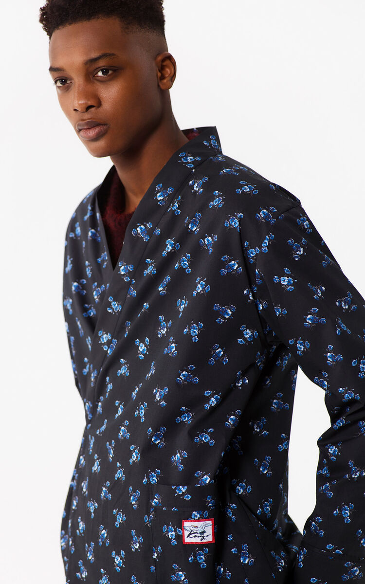 BLACK 'May Flowers' Kimono Shirt for men KENZO