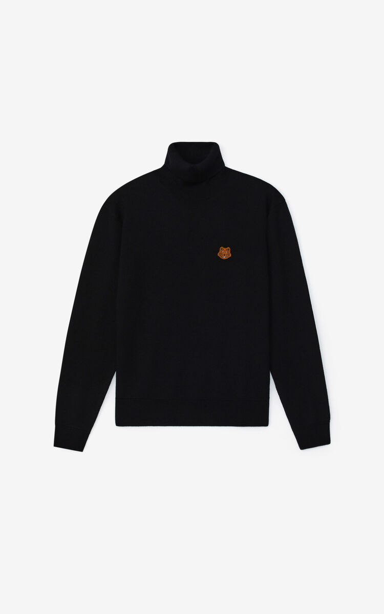 BLACK Tiger Crest roll-neck jumper for men KENZO