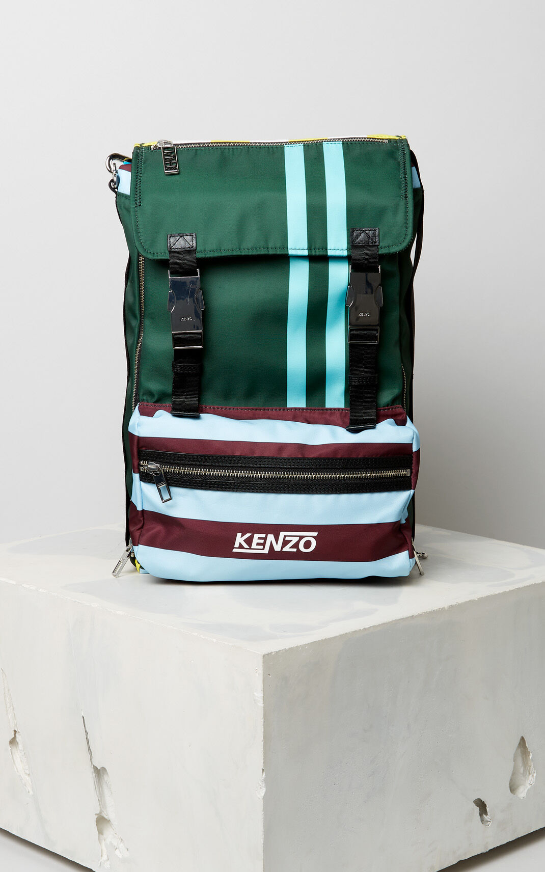 PINE Large striped 'Hyper KENZO' backpack for men