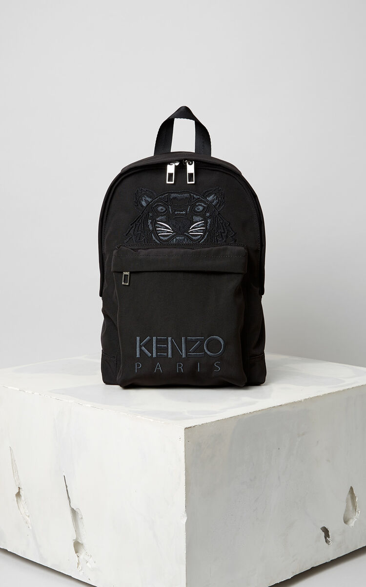 BLACK Medium Tiger Canvas Backpack for men KENZO