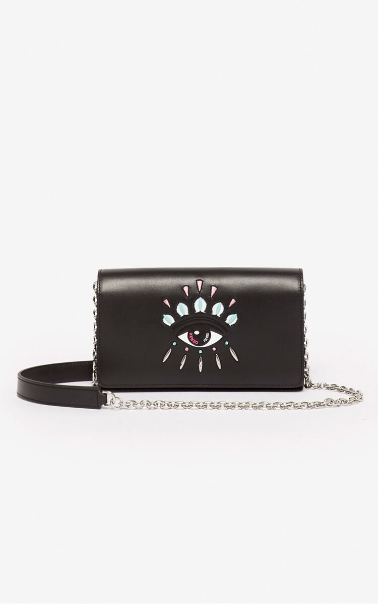 BLACK Kontact wallet on a chain for men KENZO