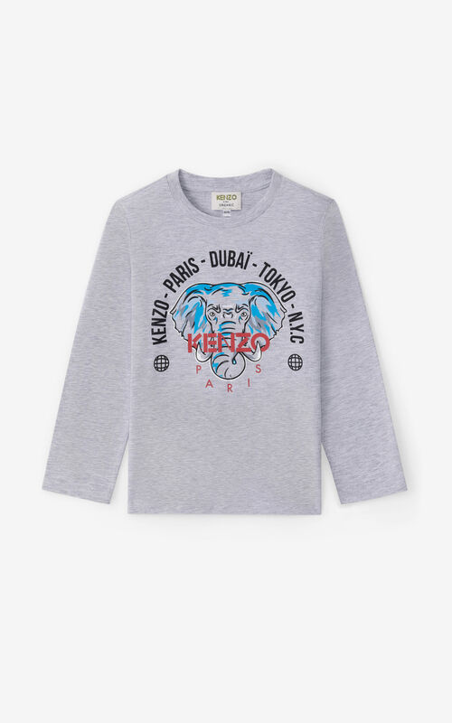 PEARL GREY 'Tokyo' long-sleeved T-shirt for men KENZO