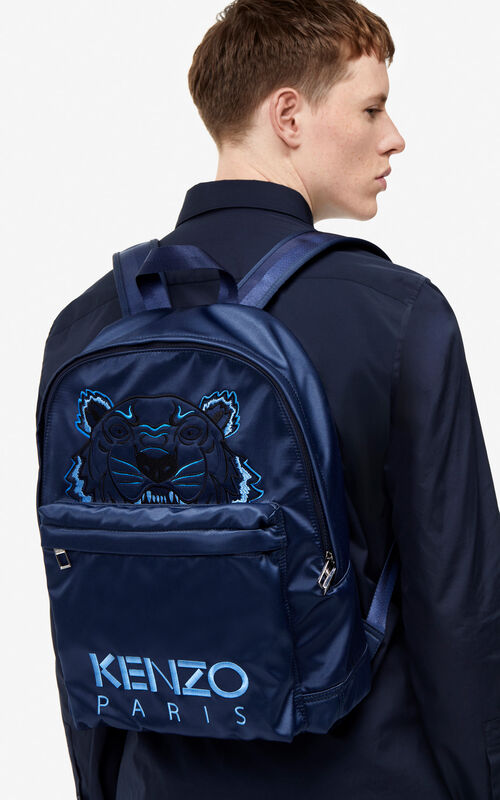 MIDNIGHT BLUE Large satin Tiger rucksack 'Holiday Capsule' for men KENZO
