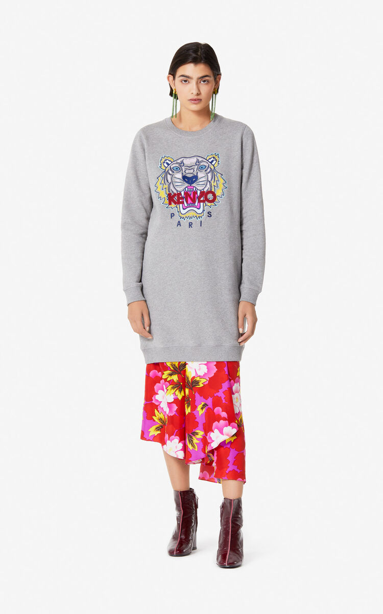 DOVE GREY Tiger sweatshirt dress for unisex KENZO