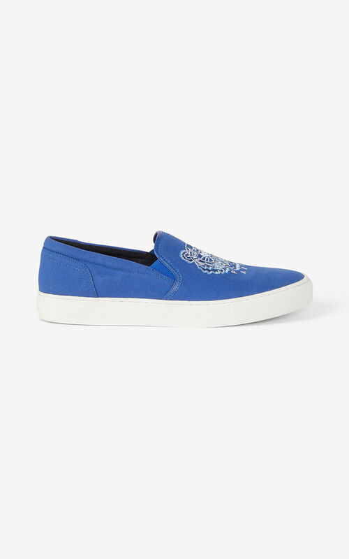 ROYAL BLUE K-SKATE Tiger canvas slip-on trainers for unisex KENZO
