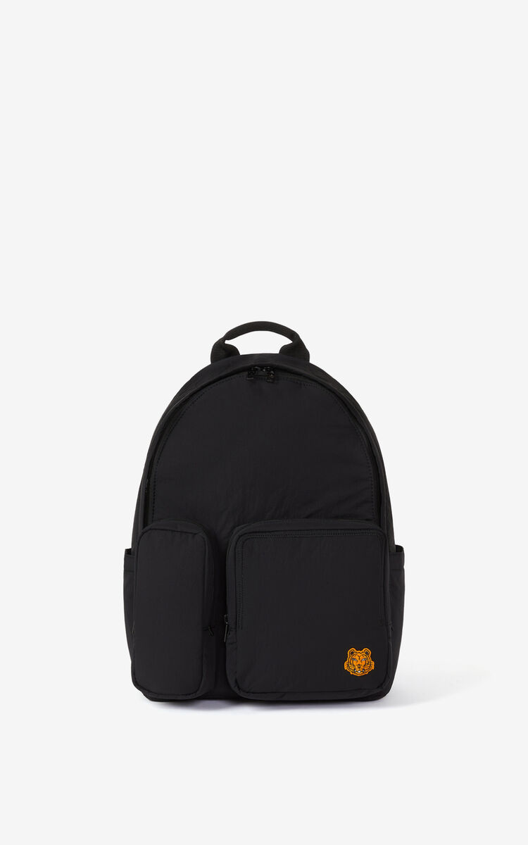 BLACK Tiger Crest backpack for unisex KENZO