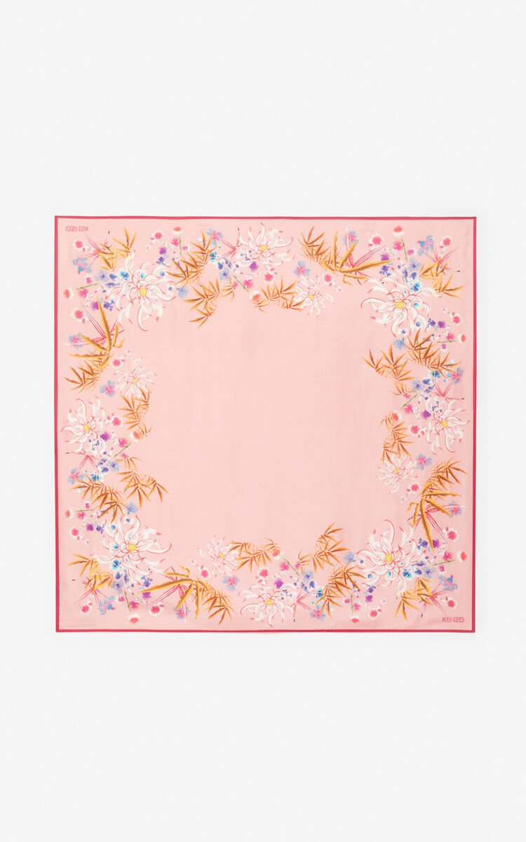 FLAMINGO PINK 'Sea Lily' silk square for unisex KENZO