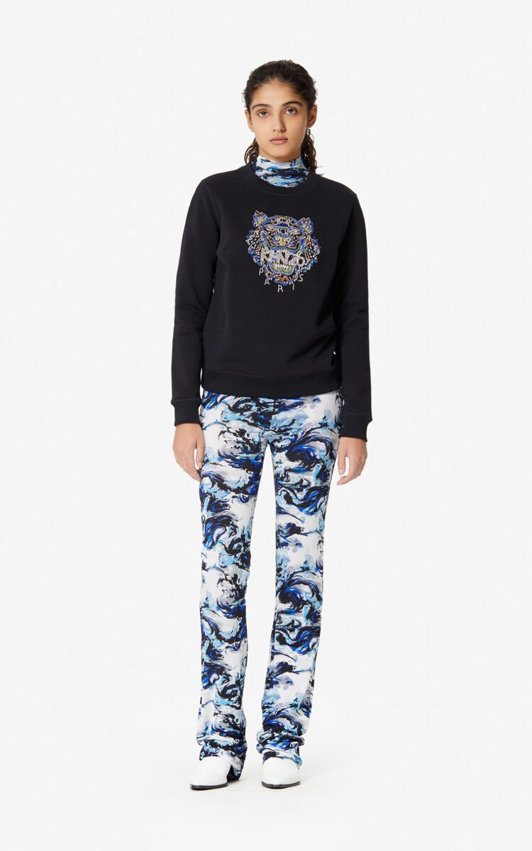 BLACK Tiger hand-embroidered sweatshirt for women KENZO