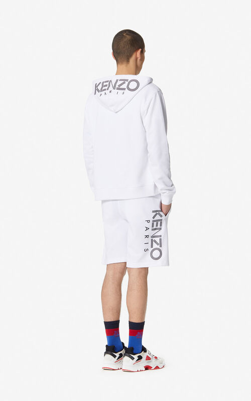 WHITE KENZO Logo shorts for men