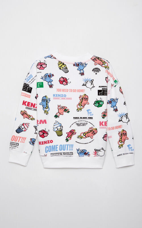 WHITE 'Food Fiesta' sweatshirt for men KENZO
