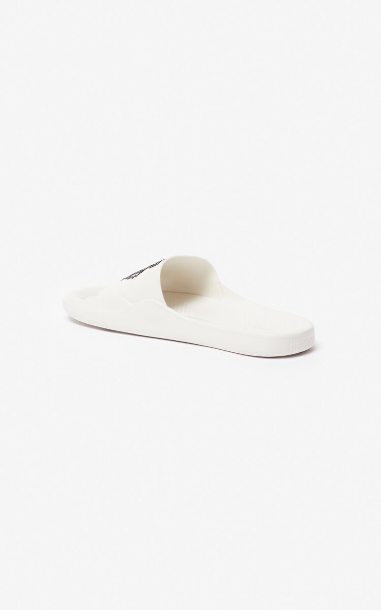 WHITE Tiger pool mules for unisex KENZO