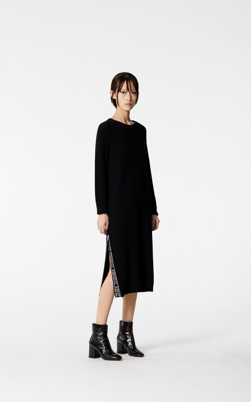BLACK KENZO Logo long dress for women