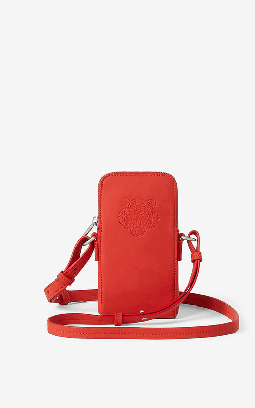 MEDIUM RED Preppy Tiger crossbody phone case for unisex KENZO