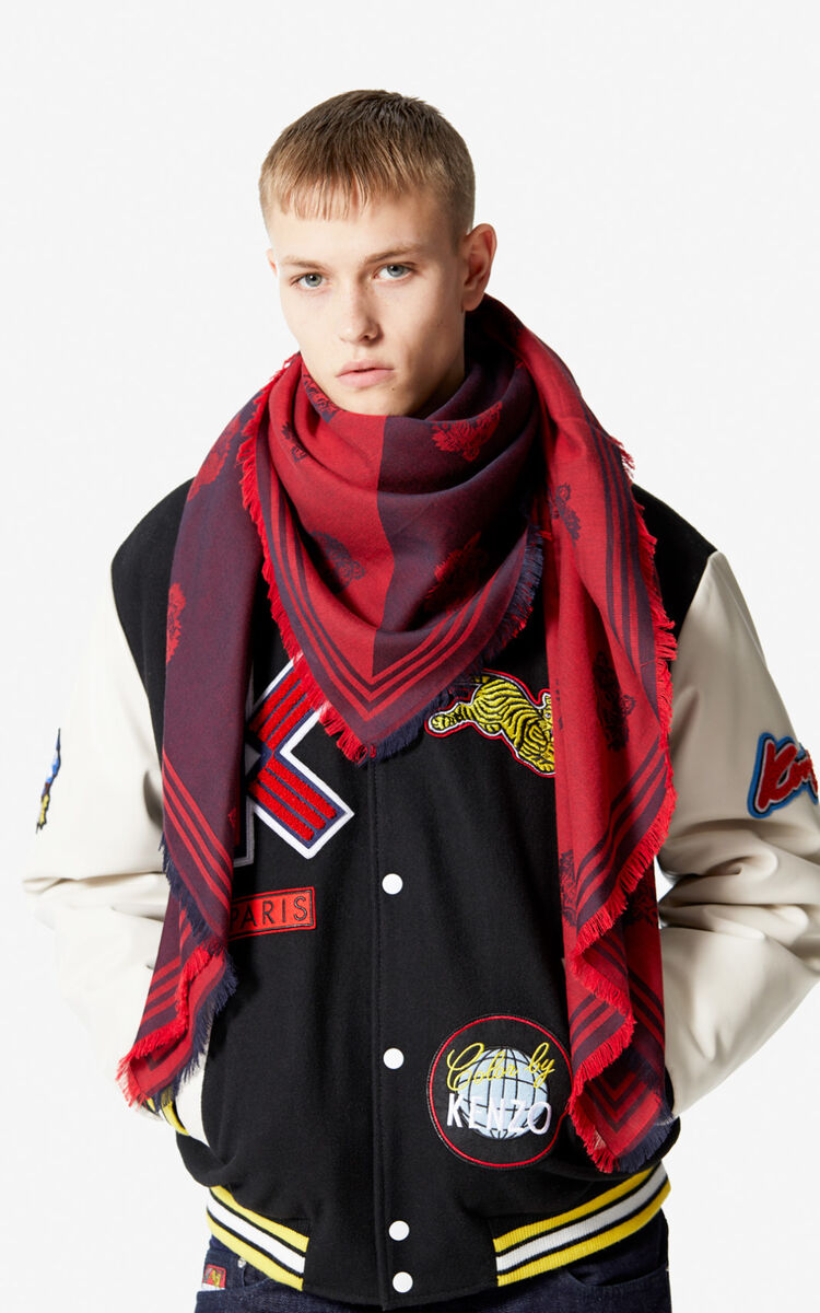 BORDEAUX Large two-tone Tiger scarf for unisex KENZO
