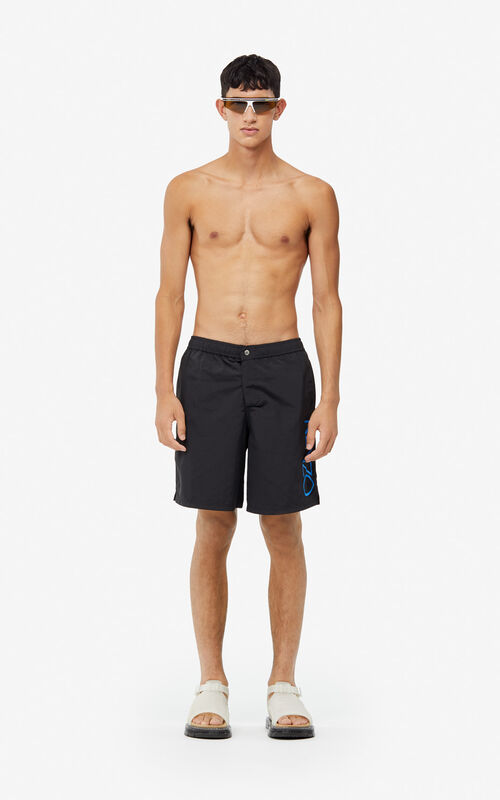 BLACK KENZO Logo swim trunks for men