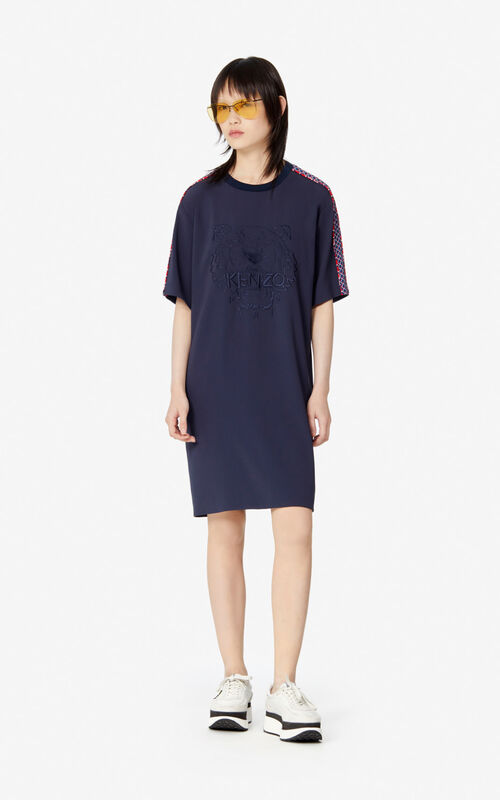 MIDNIGHT BLUE 'Fishnet' Crepe Tiger dress for women KENZO